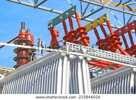 electrical connections of the large hydro-electric power production - stock photo