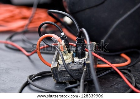 Electrical distribution,extension cables and cords. - stock photo