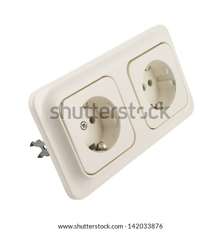 Electrical double jack white plastic socket isolated over white background - stock photo