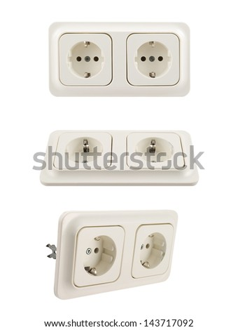 Electrical double jack white plastic socket isolated over white background, set of three foreshortenings - stock photo