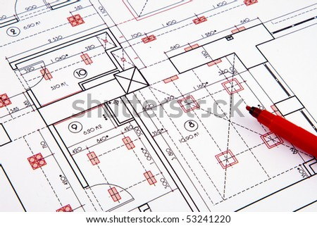 Electrical drawing of house - stock photo