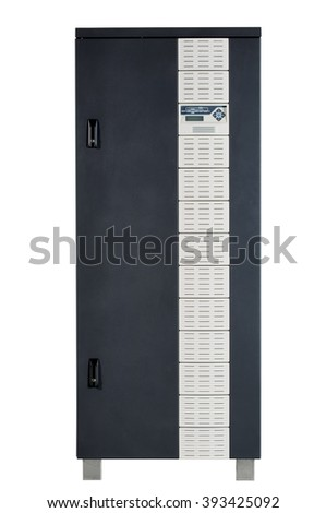 Electrical enclosure with its door closed. Could be electrical circuit breaker, fuse box, control panel, server, power source or other electronics enclosure. - stock photo