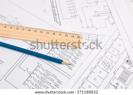 electrical engineering drawings printing, pencil and ruler