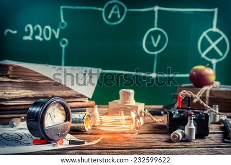 Electrical experience in physics laboratory - stock photo