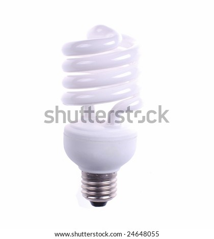 electrical fluorescent energy-saving lamp isolated on white - stock photo