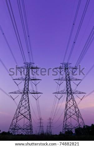 electrical high voltage power pylon - stock photo