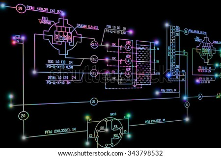 Electrical industrial engineering scheme - stock photo