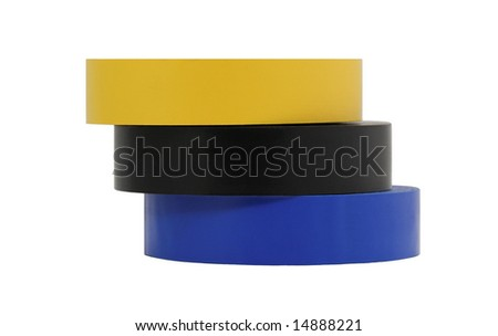 Electrical insulation tape, yellow,black and blue used by electricians, isolated in a white background