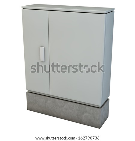 Electrical junction box, distribution box, 3d rendering isolated on white background - stock photo
