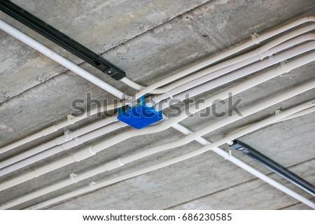 electrical junction box pvc conduit pipe stock photo edit now rh shutterstock com Different Types of Electrical Conduit Outdoor Electrical Wire Conduit