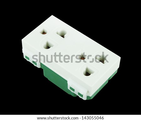 Electrical outlet (socket plug) on black background - stock photo
