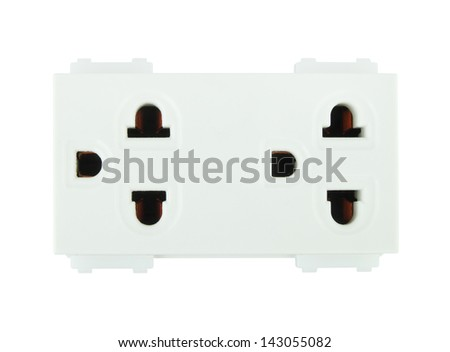 Electrical outlet (socket plug) on white background - stock photo