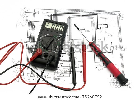 electrical plan - stock photo