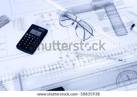 Electrical plan with objects - stock photo