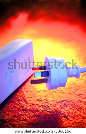 Electrical plug and power-board - stock photo