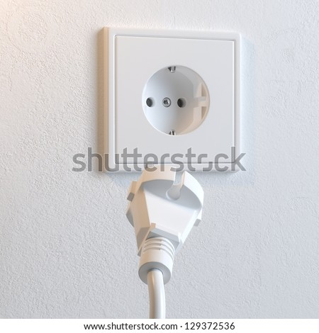 Electrical Plug and Socket. Metaphor of Electricity Consumption. (2nd version) - stock photo