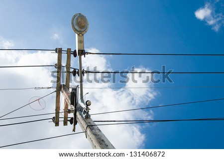 Electrical pole with blue sky