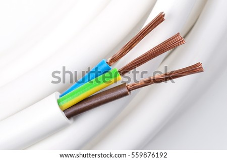 Electrical Power Cable Macro Photo IEC Standard Color Code Cross Section With