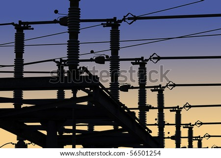 Electrical power grid in silhouette - stock photo