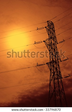 Electrical power line with beautiful background sky