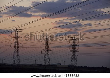 Electrical power lines at dusk
