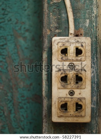 electrical power outlet on the wall - stock photo