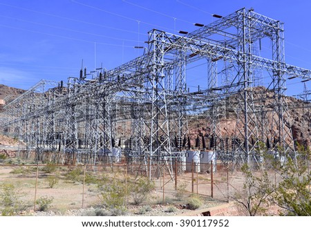 Electrical power station in the desert - stock photo