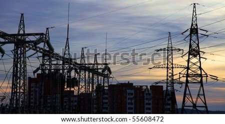 Electrical power station. Sunset. - stock photo