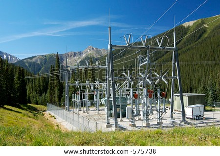 Electrical power substation in a power grid. - stock photo