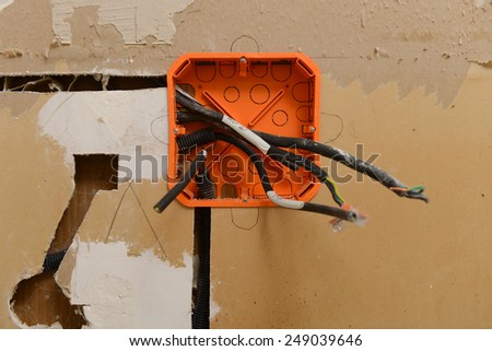 Electrical renovation work - stock photo
