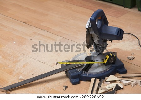 Electrical saw with circular blade for wood - stock photo