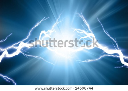 Electrical sparks on a dark blue background - stock photo