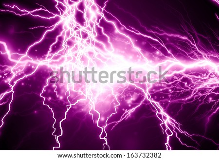 electrical sparks on a dark pink background - stock photo