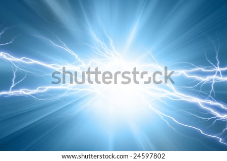 Electrical sparks on a soft blue background - stock photo