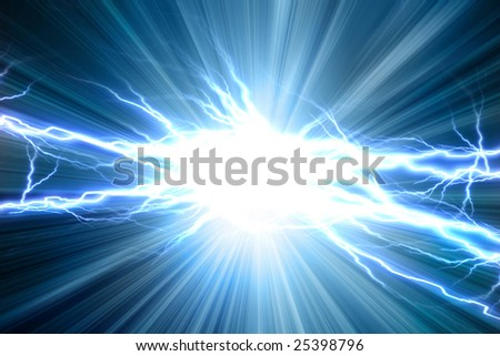 Electrical sparks on a soft blue background