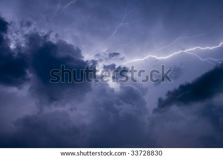 Electrical storm after sundown in Florida - stock photo