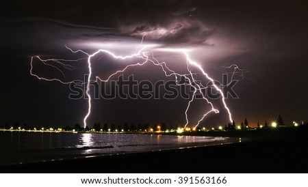 Electrical Storm Over Safety Bay - stock photo