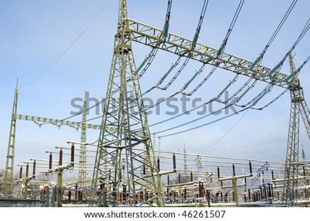 Electrical substations and snow - stock photo