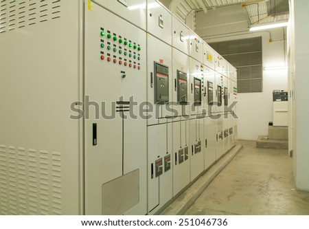 Electrical switchgear -- Industrial electrical switch panel  - stock photo