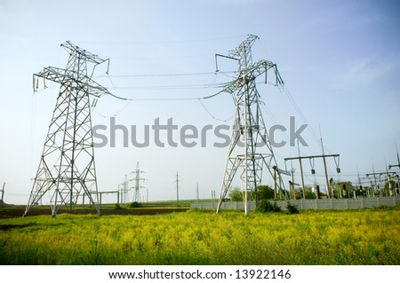 Electrical towers structure on blue sky background
