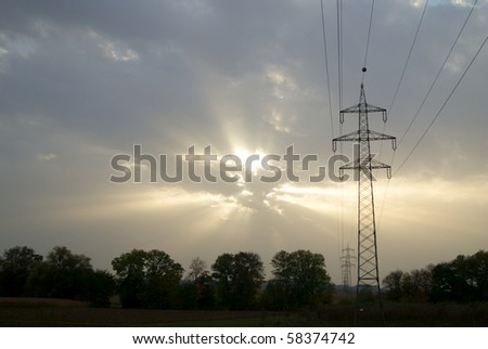 Electrical transmission line under sun ray