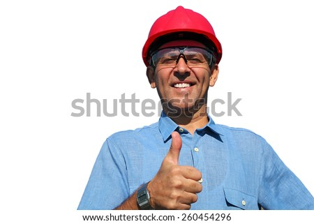 Electrical Utility Worker Over White Background. Thumb up given by smiling engineer isolated on white.  - stock photo