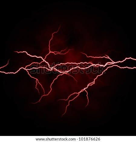 electrical white red lightning over dark background - stock photo