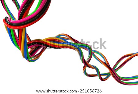 Electrical Wires on White - stock photo