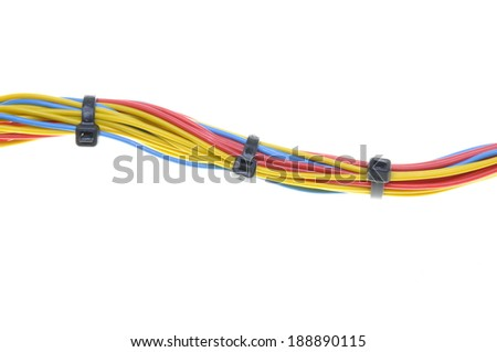 Electrical Wires Cable Ties Isolated On Stock Photo (Royalty Free ...