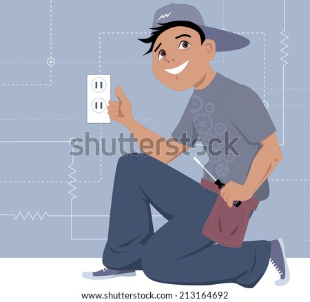 Electrician installing a wall socket - stock photo