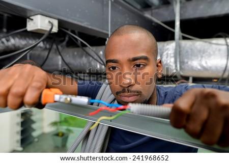 Electrician likes his job - stock photo