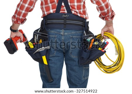 Electrician man with drill and wire cable isolated on white background. - stock photo