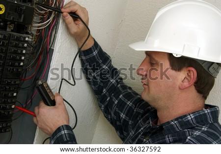 electrician technician - stock photo