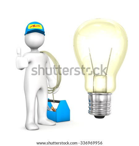 Electrician with big bulb and blue tool box on the white. - stock photo